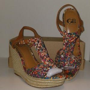 Gianni Bini floral wedge heels with rope bottom